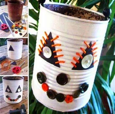 recycled halloween crafts   tin cans decorations