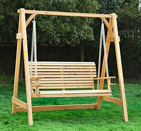 2 Seater Hammock Swing by Outsunny 2 Seater Larch Wood Wooden Garden Swing Chair