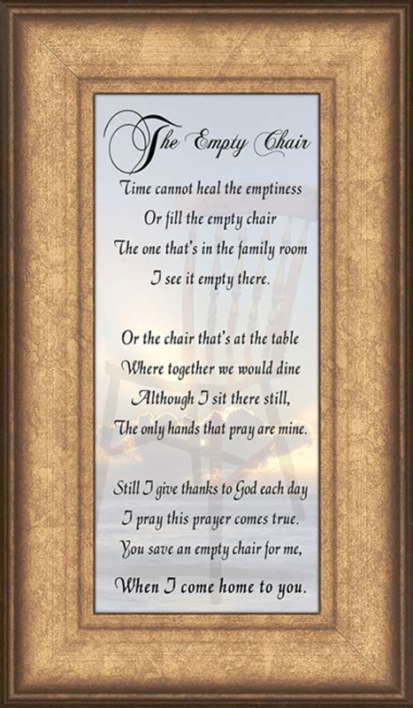 the empty chair poem framed sympathy gift lordsart