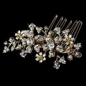 Gold Floral Swarovski Crystal Bridal Hair Comb 8005