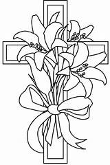 Cross Lily Easter Coloring Clipart Pages Drawing Lilies Spring Template Line Printable Clip Flower Sketch Drawn Fun Tattoo Cliparts Templates sketch template