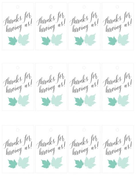 thank you for hosting card template 10 minute printable hostess quot thank you quot tags