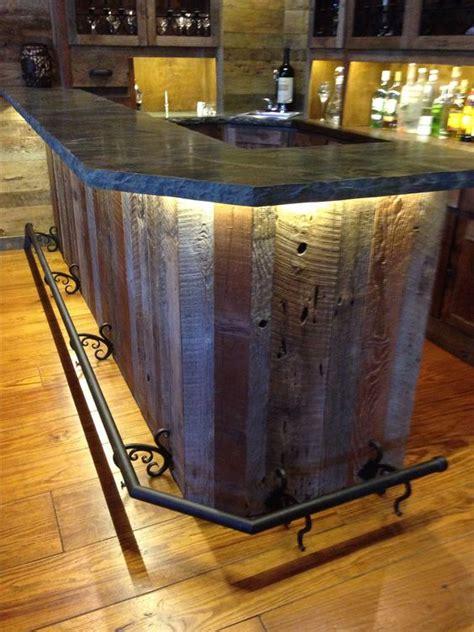 wood and iron bar custom reclaimed wood bar wrought iron lighting