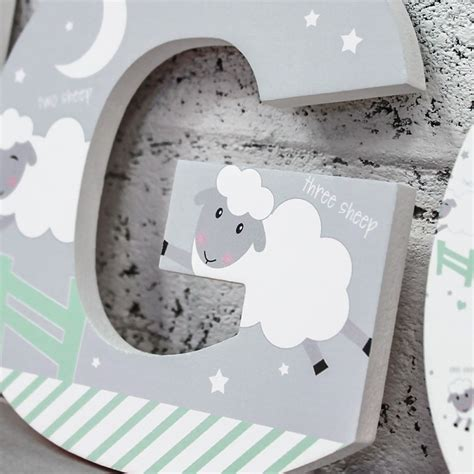 counting sheep wooden letters