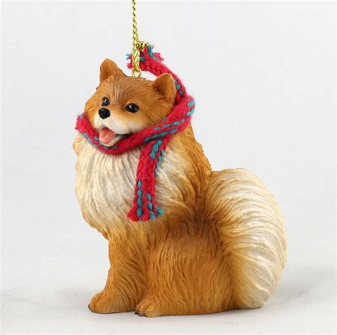 pomeranian dog christmas ornament scarf figurine ebay