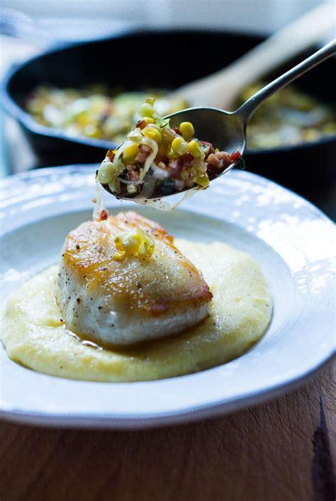 halibut  corn leek sage  polenta recipe food