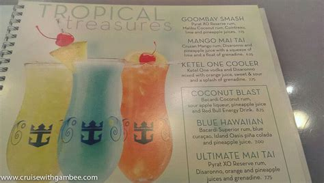 Boat Club Drinks Menu by Royal Caribbean Drink Lists Prices Menus And Much More
