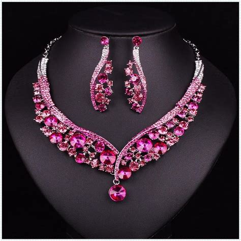 Fashion Indian Jewellery Green Crystal Necklace Earrings ...
