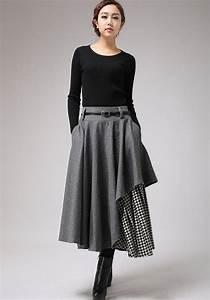 Gray wool skirt winter skirt layered long skirt (720)