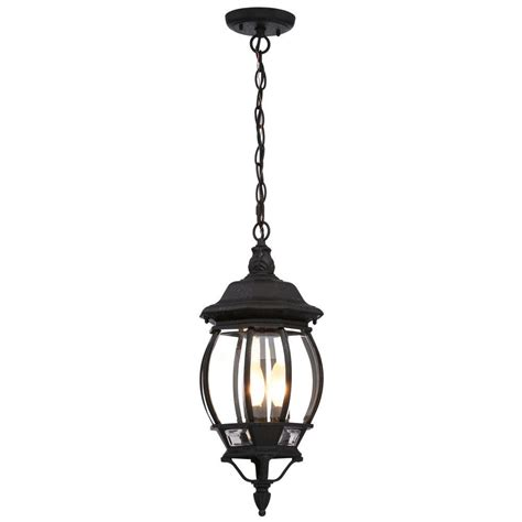 Black Porch Light by Glomar Concord 3 Light Textured Black Outdoor Hanging