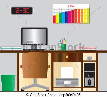 clipart bureau computer desk stock illustration instant