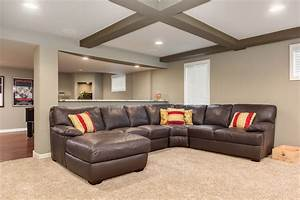 Basement sectional sofa transitional basement for Sectional couch for basement