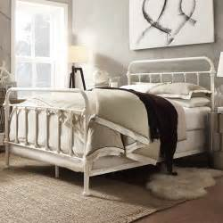 metal bed frame off white antique iron full queen king