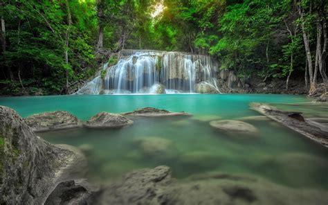erawan waterfall  thailand jungle rain forest rocks