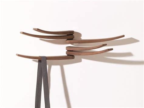 wall mounted walnut coat rack wing by arper design lievore altherr molina