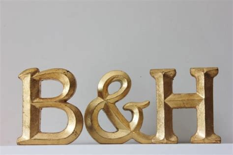 gold letters  ampersand resin vintage style gold leaf painted wedding decor initials