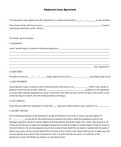 sample equipment lease agreement forms   ms