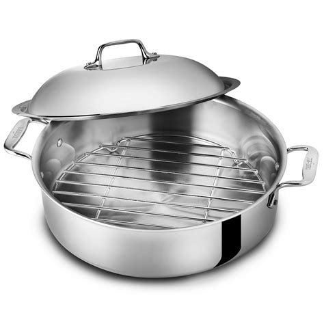 clad  stainless french braiser  rack  quart cutlery
