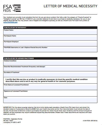 sample medical necessity form  examples  word