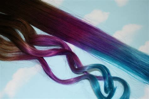 Tie Dye Tips Purple And Turquoise Human Hair Extensions