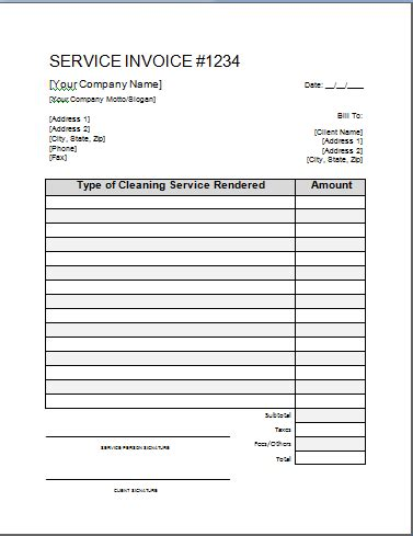 printable cleaning service receipts cleaning invoice