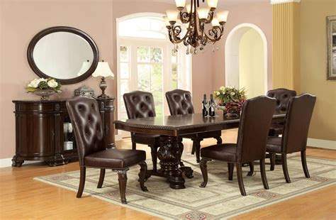 bellagio traditional brown cherry solid wood dining table