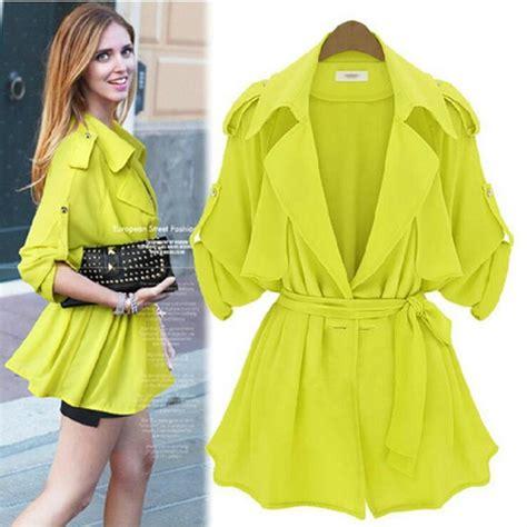 Casual Spring Summer Jacket Women Casacos Top Quality Jacket Ladies Adjustable Bat Sleeve Loose ...