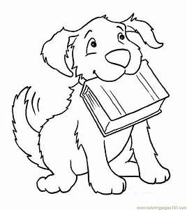 dog printable coloring pages - coloring pages dog with book animals dogs free