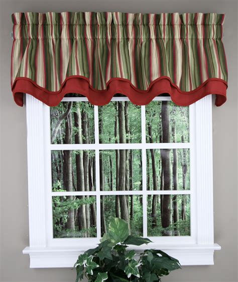 Striped Valances by Montego Stripe Layered Valance Green Ellis Kitchen