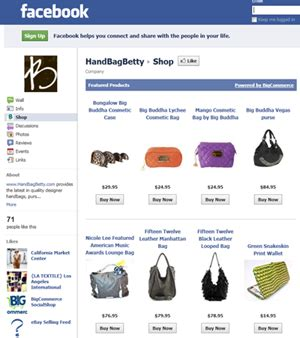 selling products  facebook business pages
