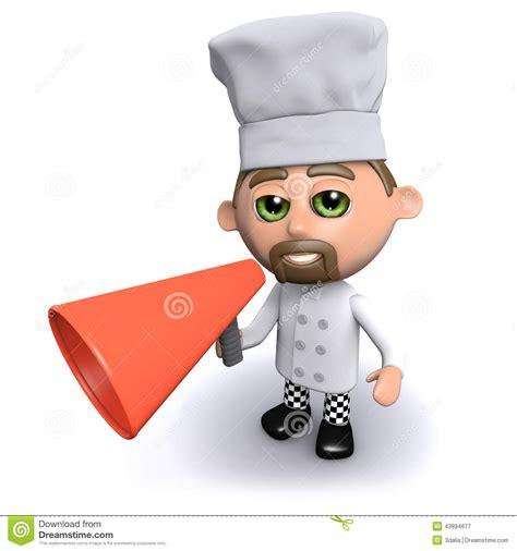 annonce chef de cuisine le chef 3d annonce par un porte voix illustration stock image 43894677
