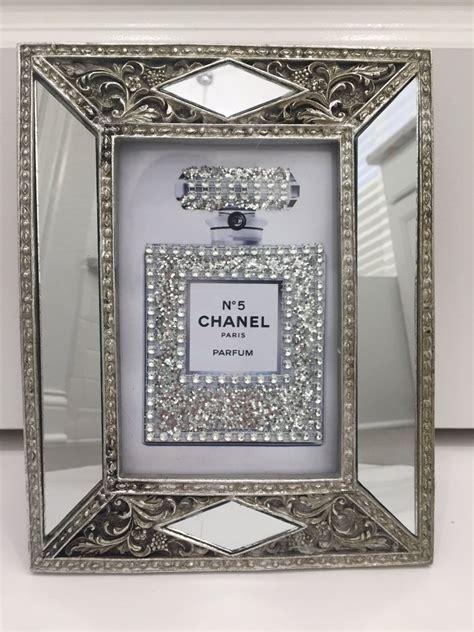 art deco style glass framed chanel   sparkling glitter
