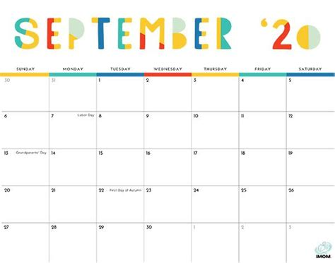 colorful printable calendar  moms imom