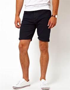 Lyst - Asos Asos Denim Shorts in Skinny Fit in Blue for Men