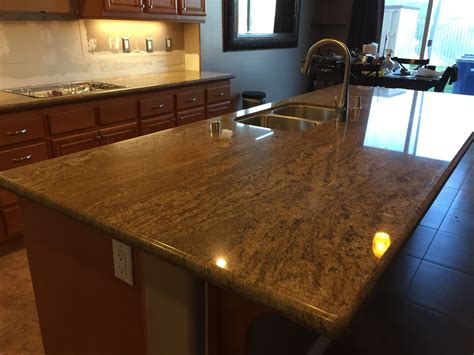 kitchen big island imperial gold granite counter tops
