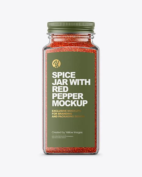 12 3 4 page 1 of 4. Spice Jar with Red Pepper Mockup in Jar Mockups on Yellow ...