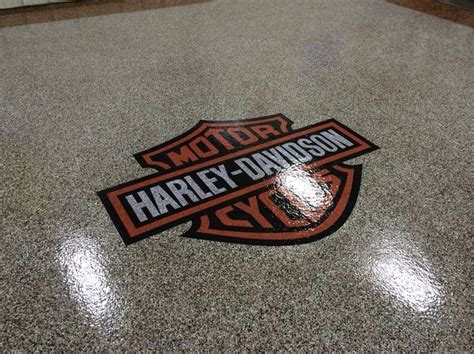 Epoxy chip garage floor with Harley Davidson logo