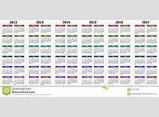 Kalender jaren 2012 2017 stock illustratie Afbeelding