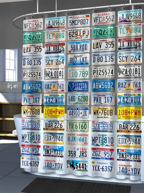 license plate shower curtain