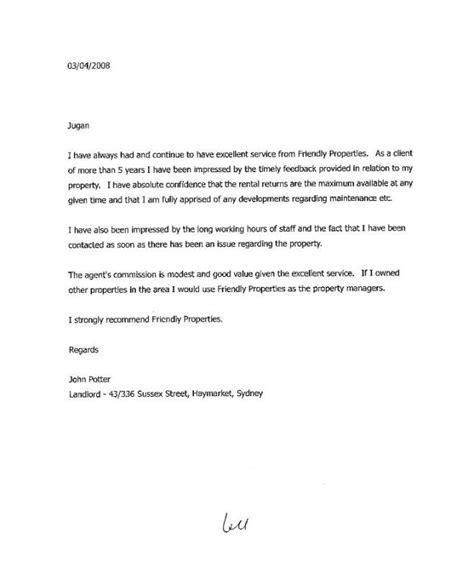 tenant recommendation letter landlord reference letter template business 29047