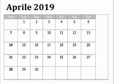 Gratuito Calendario Aprile 2019 Da Stampare Modello Best