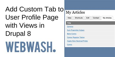 Add Custom Tab To User Profile Page With Views In Drupal 8