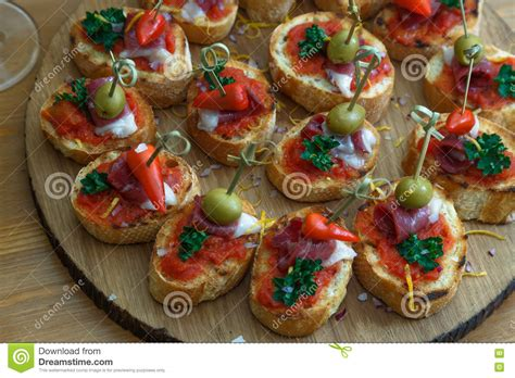 canapes finger food pinchos tapas canapes finger food stock