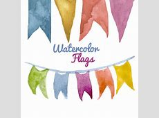 Watercolor Flags Pennants clipart birthday party clip art