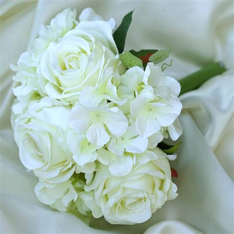 cream real touch artificial rose hydrangea flower