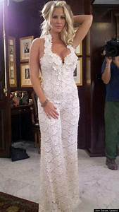 Kim zolciak reveals wedding jumpsuit photo huffpost for Kim zolciak wedding dress