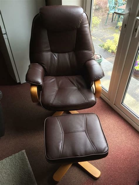 macau bonded leather swivel recliner chairs   footstools  coventry west midlands