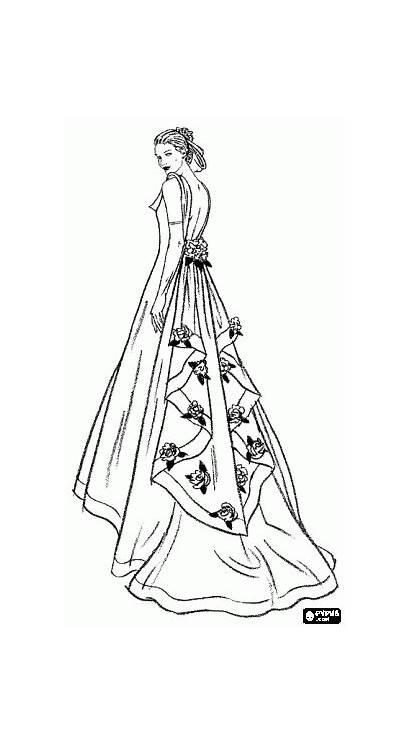 Colorear Novia Coloring Vestido Quinceanera Dresses Dibujos