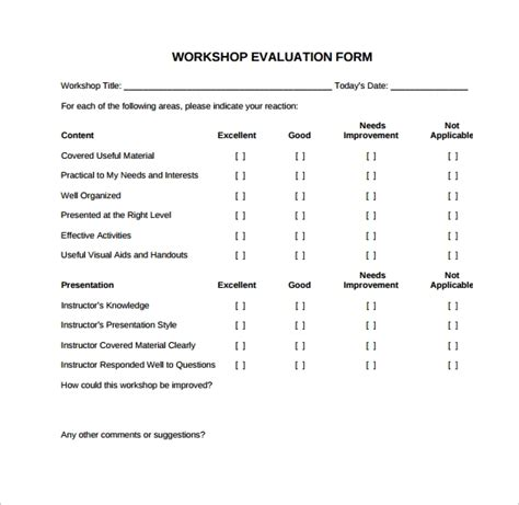 sample workshop evaluation forms   ms word