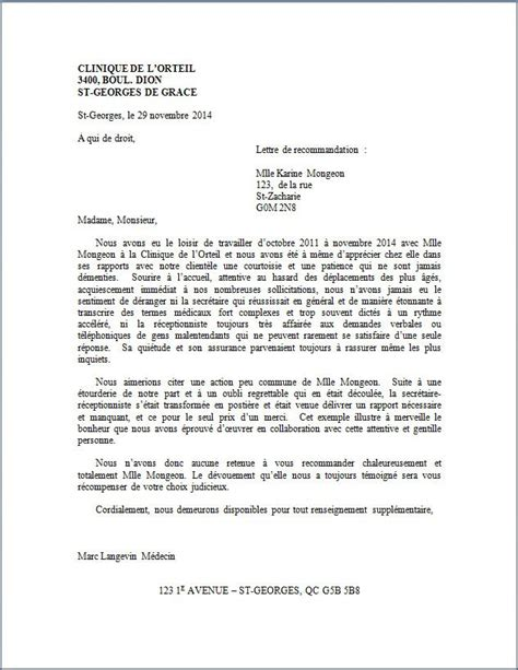 exemple de lettre de recommandation stagiaire lettre de recommandation clinique médicale lettre de